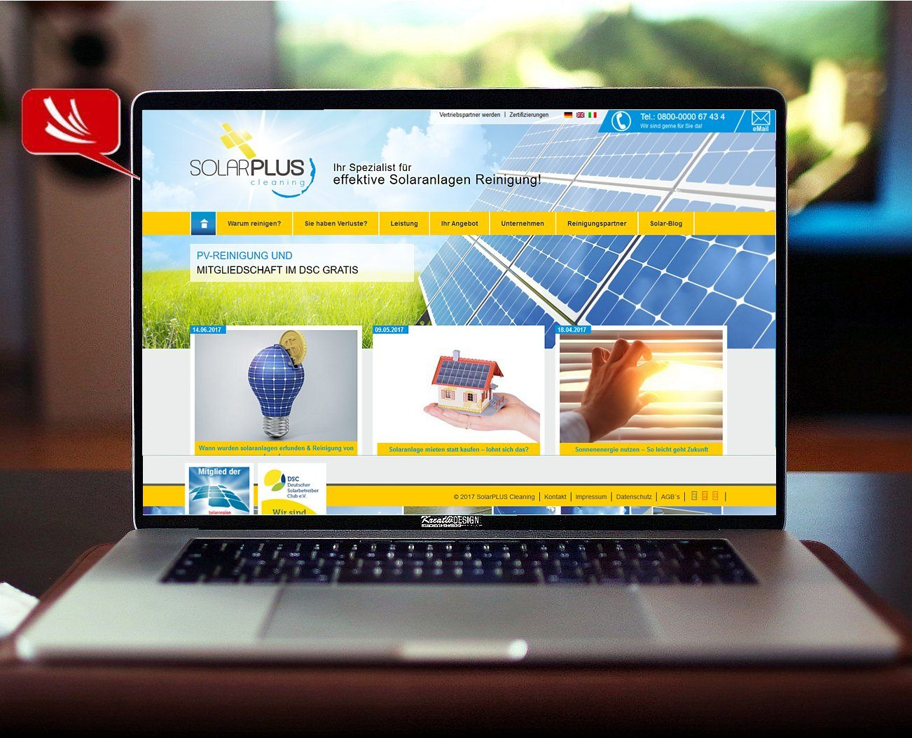 Solar Cleaning Webseite